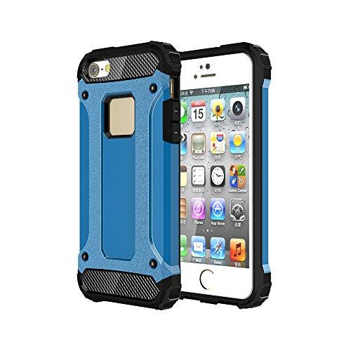 iPhone 5 &5S &SE Custodia, 2-in-1 Cases Protettivo Estrema Assorbimento-Urti Armatura Cover Per iPhone 5 &5S &SE. (Rosso) Blu