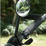 Sedeta® Miroir de verre de vélo Rétroviseurs rotatifs réglables universels de guidon de rétroviseur pour vélo de montagne rond noir