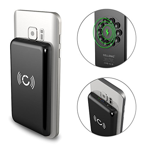 Cellonic® Wireless Powerbank 2600mAh con Ventosa Compatibile con Qi - iPhone XS, XS Max, XR, X, 8, 8+ / Samsung Galaxy S9, S9+, S8, S8+ / Nokia Batteria Esterna Banca di Potere, Caricatore