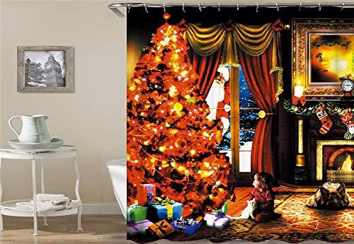 ZZZdz Leuchtender Weihnachtsbaum. Kindergeschenk Santa Hund Flamme. Duschvorhang. Wasserdicht. Einfach Zu Säubern. 180X180Cm.