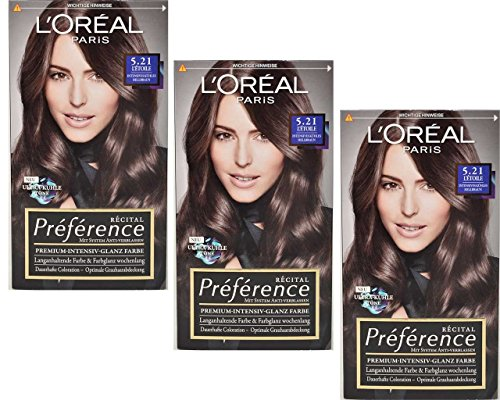 3x Loreal Recital Preference 5.21 Letoile Intensives Kühles Hellbraun 180ml