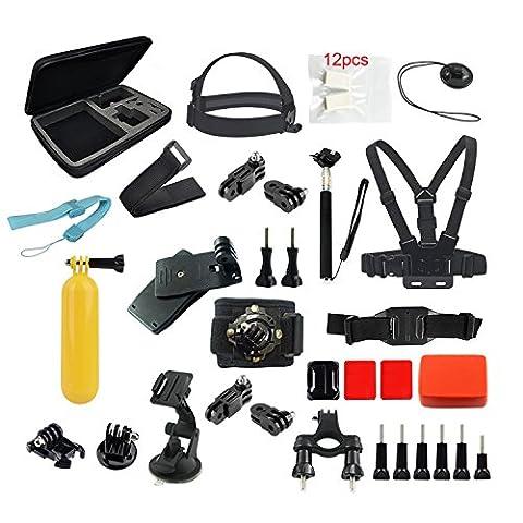 Kitway Kit d'accessoires basiques 27-en-1 pour caméra d'action Xiaoyi, Gopro Hero 4/3+/3 Silver/black, SJ4000, SJ5000, SJ6000