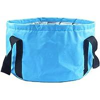 hooyee multifuncional plegable al aire libre portátil de viaje plegable lavabo cubo para Camping senderismo viajes pesca lavado, azul