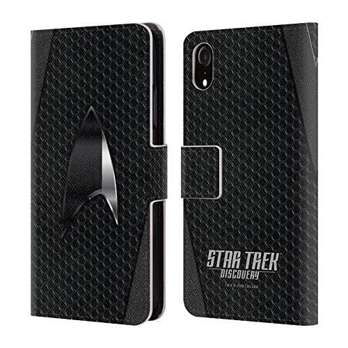 Head Case Designs Offizielle Star Trek Discovery Schwarz Badges Brieftasche Handyhülle aus Leder für iPhone XR