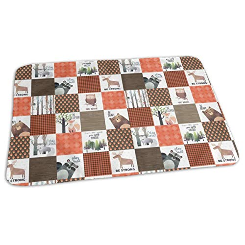 4.5 BLOCKS- Woodland Critters Patchwork Quilt - Bear Moose Fox Raccoon Wolf, Brown U0026 Orange Design GingerLous Baby Portable Reusable Changing Pad Mat 19.7x 27.5 inch -