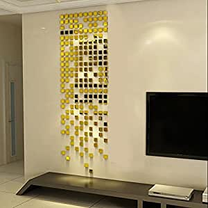 Wall1ders Atulya Arts Offering - 100 Pieces (3 cm Each) Square Mirrors Golden 3D Acrylic Sticker