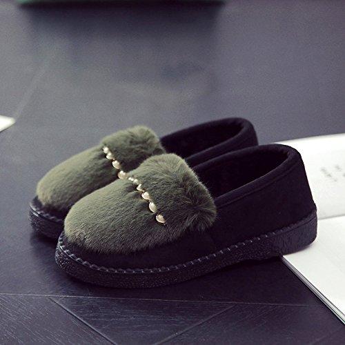 Fankou inverno piscina home pantofole di cotone femmina - anti skid fondo spesso pacchetto con usura esterna cashmere caldo cotone scarpe inverno B ROT
