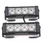 Linchview 2 x 4 LED 24 Watt 12V Auto Warnleuchten Strobe Blitzlicht Blinkend Licht Cargo Truck Strobe Leuchten mit Schalterkabel und Montagewinkel 7 Blitzmuster (1 Paar LED Licht) (Gelb)
