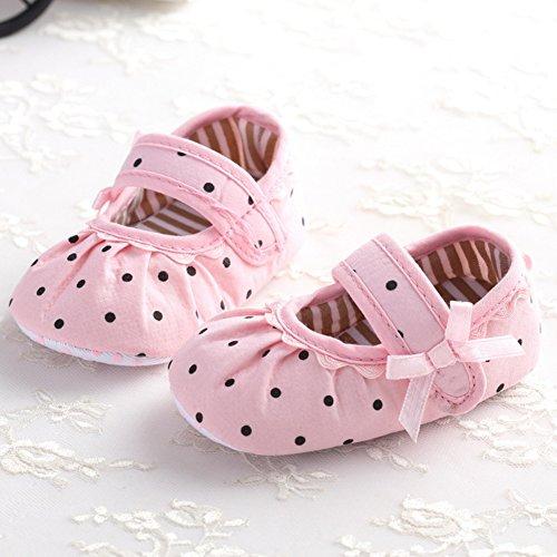 Lovely und Soft Baby First Walkers Anti-Rutsch und Soft Sohle Baby Schuhe mit Punkten Dekoration Prinzessin Schuhe für 0-18 Monate Baby Girls (Weiß, M) Rosa