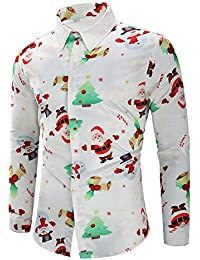 CharMma Herren Hemd Weihnachten Thema Knöpfbar Langarm Stehkragen Shirt 6ecb53f416
