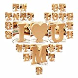 saniswink Exquisite Ornaments freistehend A-Z Holz Buchstaben Alphabet zum Aufhängen Hochzeit Home Party Decor–Hert I siehe abbildung