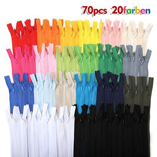 KING DO WAY 70 pcs Reißverschlüsse Gemischte Nylon 40 cm lang, 2.5cm breit Schneider, 20 Farben, ErsatzReißverschlusses fürKleidungTasche Kissenbezug (Nylon-reißverschluss-taschen)