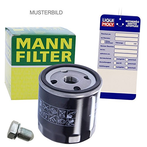 Preisvergleich Produktbild 1x Ölwechsel Set - MANN ÖLFILTER + Ölablass-Schraube + LIQUI MOLY Ölwechsel-Anhänger