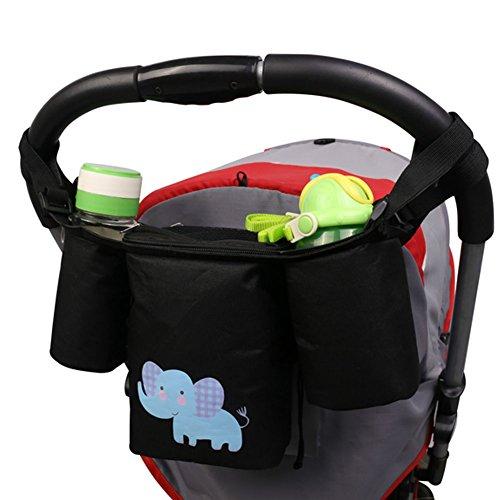 Welkey passeggino organizer Storage Bag con supporto per telefono cellulare e griglia bag-nero-resistente all' acqua, adatto a tutti i passeggini, Premium Deep portabicchieri