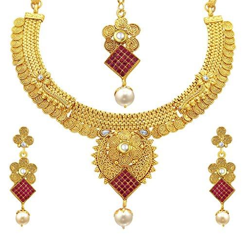 Sukkhi Eye-Catchy Invisible Setting Jalebi Gold Plated Necklace Set For Women