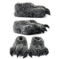 Boys Girls Faux Furry Warm Flat Grey Claw Novelty Slipper Shoe Sizes UK 1-6