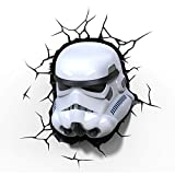Luz de noche niños LED – Lámapara Star Wars mascára Stormtrooper – 3D Light FX - Luz de pared con minutero y pegatina de pared – Funciona con Pilas