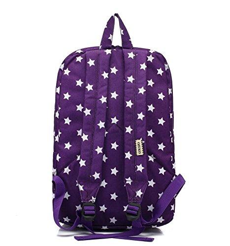 Z&N Student kreativ einfach Mode Freizeit Tasche Stern Schultertasche Männer und Frauen Rucksack leichte Verpackung Rucksack Reise Wandertasche purple