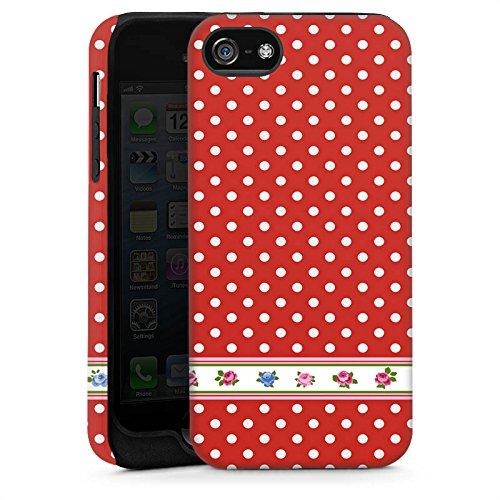 Apple iPhone 5 Housse étui coque protection Petits points Papier peint Fleurs Cas Tough brillant