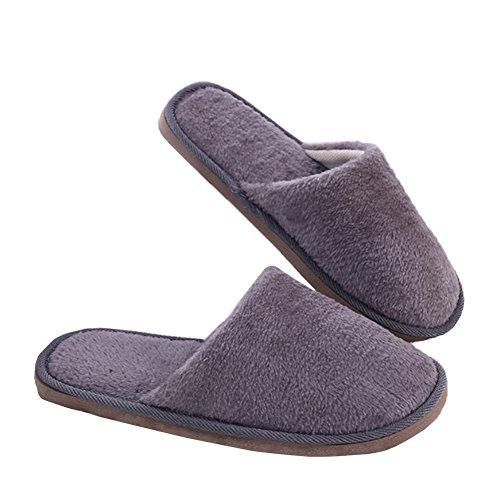 Yaxitu Winter Plüsch Indoor Haus Schuhe Solid Color Soft Slipper 1 Paar (M (41-42), Grau)