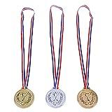 Toyvian 12 Stück Kinder Medaillen Goldmedaille Spielzeug Kunststoff mit Halsband für Sportwettkämpfe Party Kindergeburtstag Geschenk (Gold Silber Bronze)