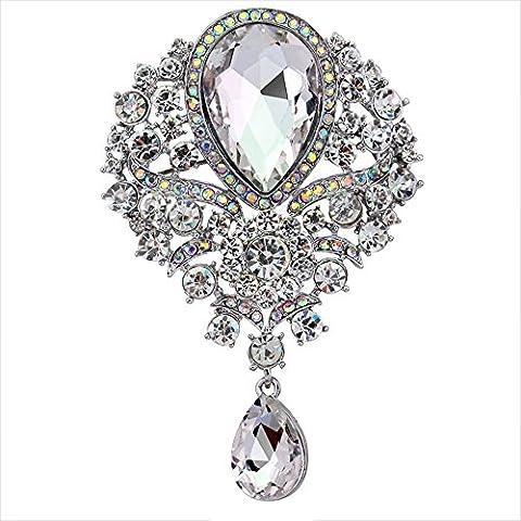 Contever® Vintage Jewellery Teardrop Brooch Pendant Pin Crystal Rhinestone Large Flower Brooch -- White