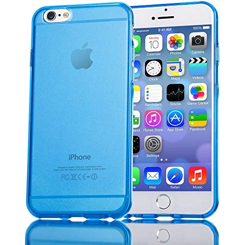 NALIA Handyhülle kompatibel mit iPhone 6 6S, Ultra-Slim Silikon Case Crystal Schutz-Hülle Dünn Durchsichtig, Handy-Tasche Telefon-Schale Back-Cover Skin Thin-Fit Smart-Phone Bumper - Blau Transparent