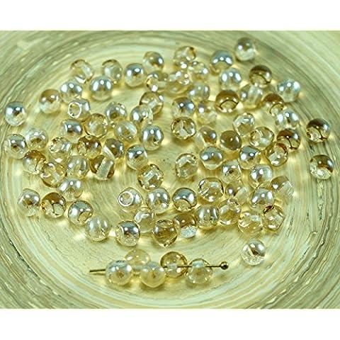 NUOVA FORMA di Cristallo di Miele Lucentezza Extra Piccolo Pulsante a Fungo ceca Perle di Vetro 4mm x 3mm 60pcs