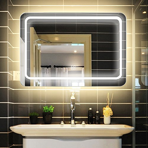 LUVODI Badspiegel mit LED Beleuchtung Design Wandspiegel Lichtspiegel Touch Schalter Dimmbar Antibeschlag Wasserdicht Badzimmer Spiegel Kosmetikspiegel 80 x 60cm IP44 energiesparend