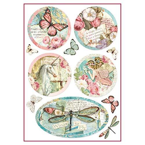 STAMPERIA DFSA4270 A4 Decoupage Reispapier verpackt Wunderland Fantasiedekorationen, Mehrfarbig, 29.7 x 21