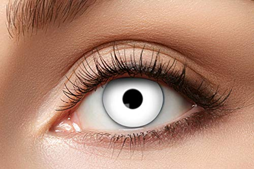 Eyecatcher - Farbige Kontaktlinsen für 12 Monate, Zombie, 2 Stück Jahreslinsen, weiss, / BC 8.6 mm / DIA 14.5 mm