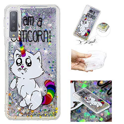 HopMore Silikon 3D Glitzer Hülle für Samsung Galaxy A7 2018 Flüssig Transparent Muster Kreativ Schutzhülle Durchsichtig Handyhülle Silikonhülle Stoßfest Gummi Case Cover Slim Bumper - Weiße Katze