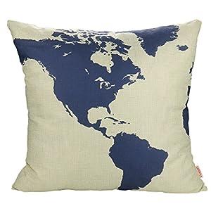 Luxbon Funda de Cojín Almohada Lino Duradero Mapa Mundial Decoración para Sofá Cama Coche 18×18″ 45×45 cm