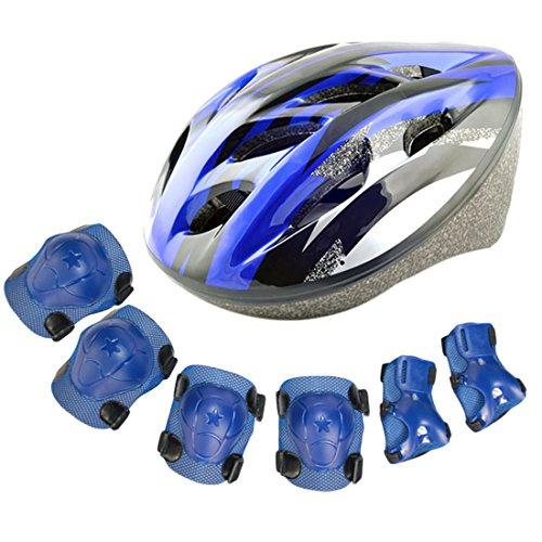 Fahrradhelm Kinder, YAKOK 7Stück Kinder Helm Set mit Schutzausrüstung (Knieschoner, Ellenbogenschoner, Handgelenkschoner) für Mädchen Jungen 3-12 jahre für Fahrrad Skateboard Scooter Reite, 48-58cm