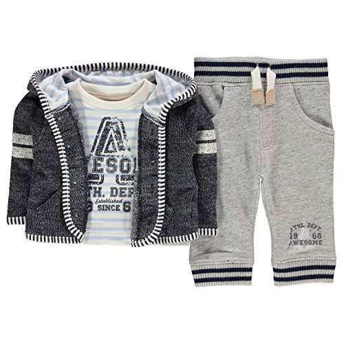Crafted Kids Three Piece Jacket Coat Top Set Baby Boys Lightweight Pattern Navy Nep 0-3 Mnth