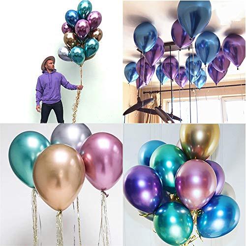 mxjeeio 50x 12inch Luftballons Luftballon Ballons Balloons für Helium und Luft in vielen Farben metallic Gold Deko Dekoration
