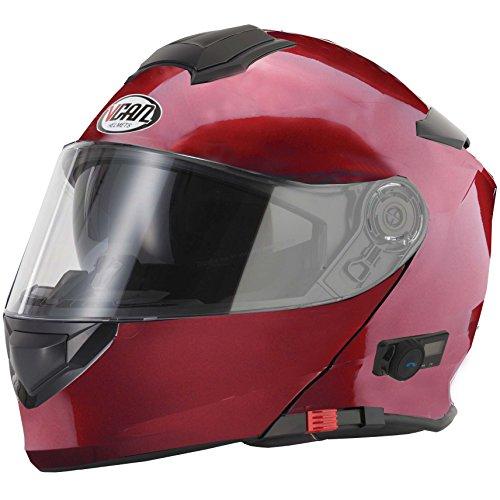 Vcan V271BLINC Bluetooth con tapa frontal casco nuevo moto MP3GPS FM de comunicación de granate con Kit de limpieza y Cuidado para modular casco y pasamontañas rojo rosso medium