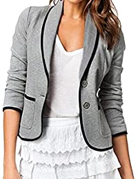 Auxo Women Sexy Slim Solid Lapel Open Front Long Sleeve Casual Business Jacket Tops Blazer