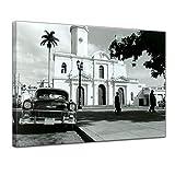 Kunstdruck - Oldtimer - Kuba - Bild auf Leinwand - 40 x 30 cm - Leinwandbilder - Bilder als Leinwanddruck - Motorisiert - Karibik - Straßenkreuzer auf Kuba