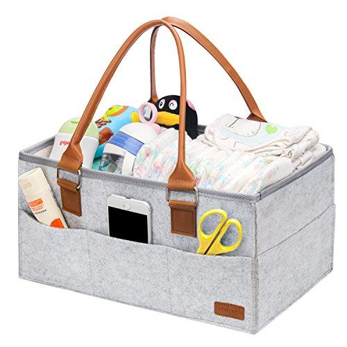 Ropch Baby Windel Caddy Organizer, Multifunktionale Filz Windeltasche Aufbewahrungskorb Windel-Aufbewahrungsbox mit Veränderbar Fächern - Grau und Braun