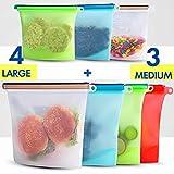 Set di sacchetti riutilizzabili in silicone per alimenti, contenitori in plastica, per alimenti Sous Vide, liquidi, snack, freezer, microonde, 7 sacchetti in silicone per frutta e verdura.