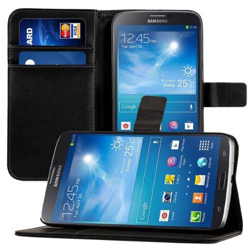 kwmobile Hülle für Samsung Galaxy Mega 6.3 i9200/i9205 - Wallet Case Handy Schutzhülle Kunstleder - Handycover Klapphülle mit Kartenfach und Ständer Schwarz