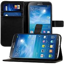 kwmobile Funda para Samsung Galaxy Mega 6.3 - Wallet Case plegable de cuero sintético - Cover con tapa tarjetero y soporte en negro