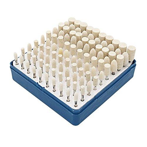 cnmade Wollfilz montiert Polieren Buff Rollen Bits Konus Polish Set Schleifstifte Zubehör Befestigung für Dremel Rotary Werkzeuge 3mm Schaft 100PCS