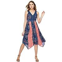56f5b2c228 Mantaray Womens Navy Floral Print V-Neck Midi Dress