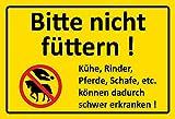 Schatzmix Bitte Nicht füttern! Pferde, kühe Gelber Schild blechschild