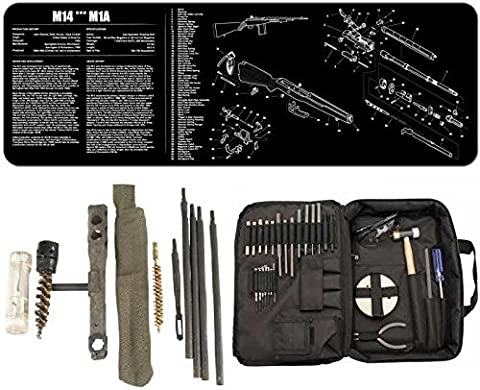 NCSTAR TGSETK Essential Complete Armorers Gunsmith Tool Kit + Ultimate Arms Gear Cleaning Work Tool Bench Gun Mat M14 M1A Rifle + OD Green Buttstock Cleaning Kit, T-Handle Tool, Ratchet Tapered Chamber Brush, Bronze Bore Brush, Rods, Patch Loop Tip, Oiler Tube Bottle, Double Ended Brush, Patches & Carrying Pouch Storage Case 7.62×51mm NATO .308 Winchester by Ultimate Arms (Gun Cleaning Mat)