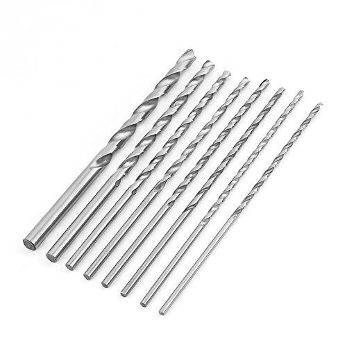 8 Stücke Spiralbohrer HSS Extra Lange 200mm Round Shank für Holz Aluminium Durchmesser 4-10mm
