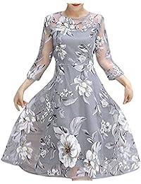 Yusealia Vestitio Lungo Donna Estivo Vestiti Donna Estate Elegante  Cerimonia Lunghi Abito Donna Manica Lunga Media 6480313cb1e0