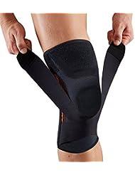 Tutore o supporto per ginocchio con stabilizzatori di pressione imbottiti in gel e protezione per ginocchio, adatti per la corsa, lo sport, e recupero da infortunio, pezzo singolo, Black-M
